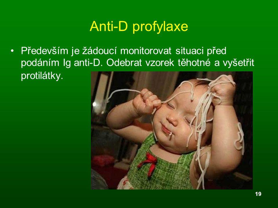 Anti-D profylaxe Především je žádoucí monitorovat situaci před podáním Ig anti-D.