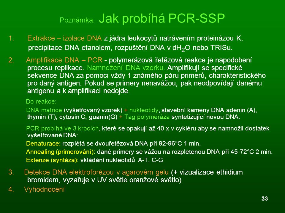 Poznámka: Jak probíhá PCR-SSP