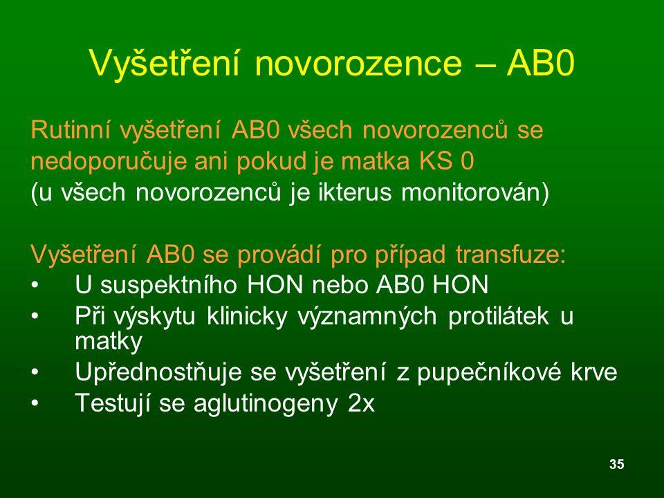 Vyšetření novorozence – AB0