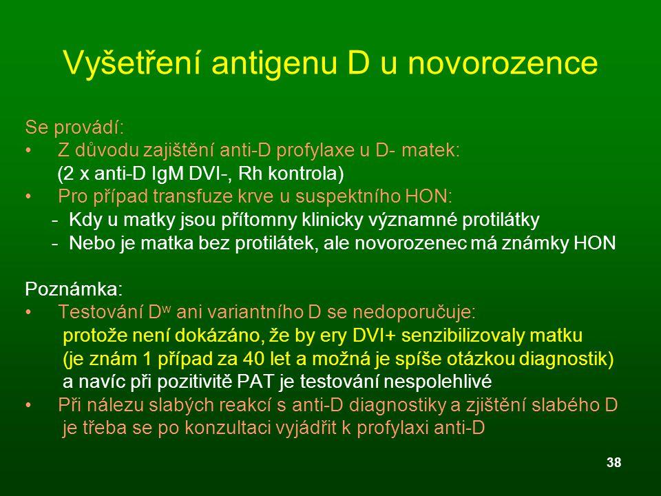 Vyšetření antigenu D u novorozence