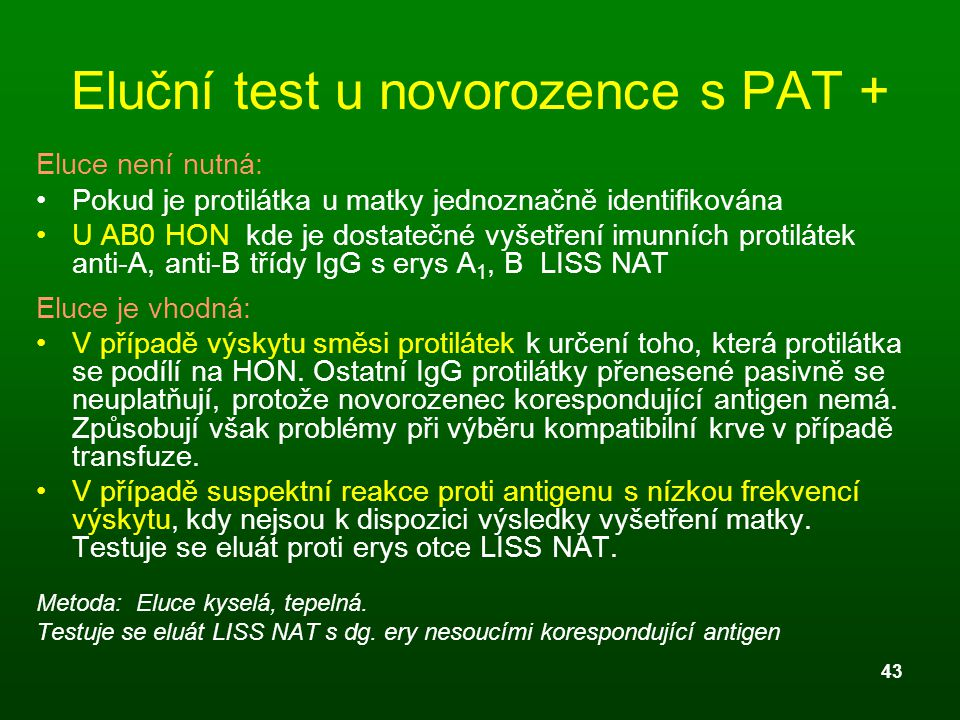 Eluční test u novorozence s PAT +
