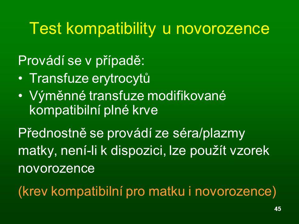 Test kompatibility u novorozence