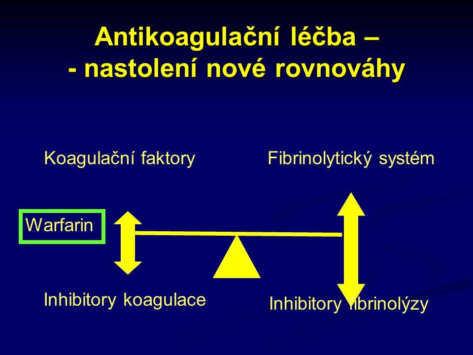Antikoagulační léčba – - nastolení nové rovnováhy