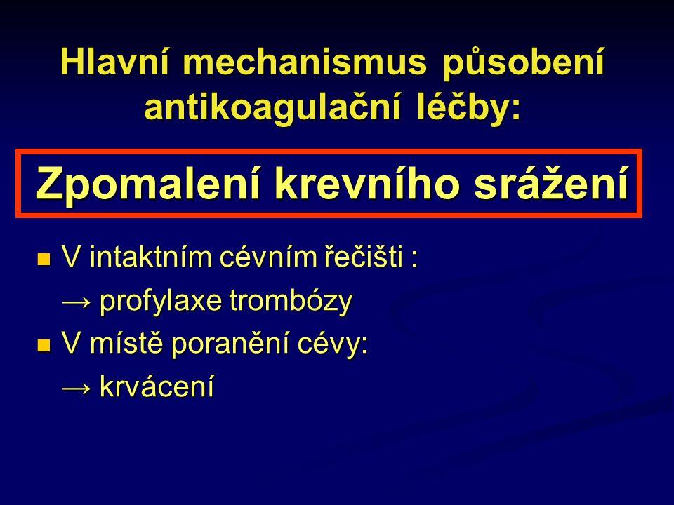 Hlavní mechanismus působení antikoagulační léčby: