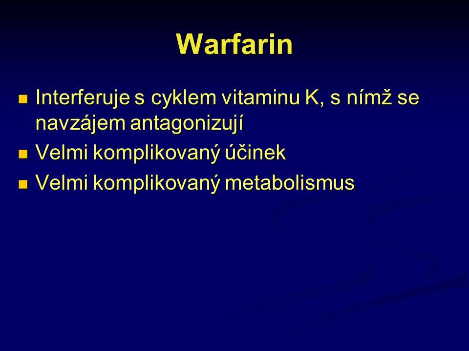 Warfarin Interferuje s cyklem vitaminu K, s nímž se navzájem antagonizují. Velmi komplikovaný účinek.