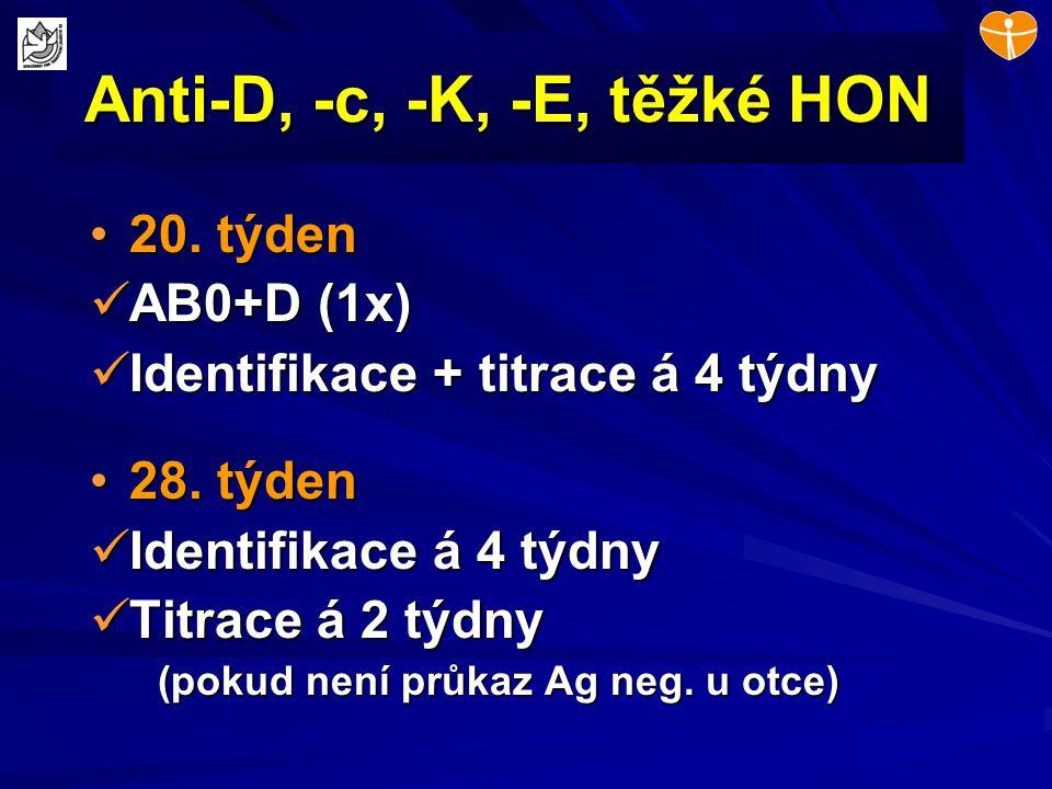 Anti-D, -c, -K, -E, těžké HON