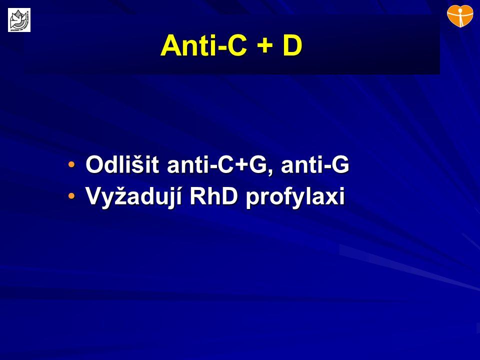 Anti-C + D Odlišit anti-C+G, anti-G Vyžadují RhD profylaxi