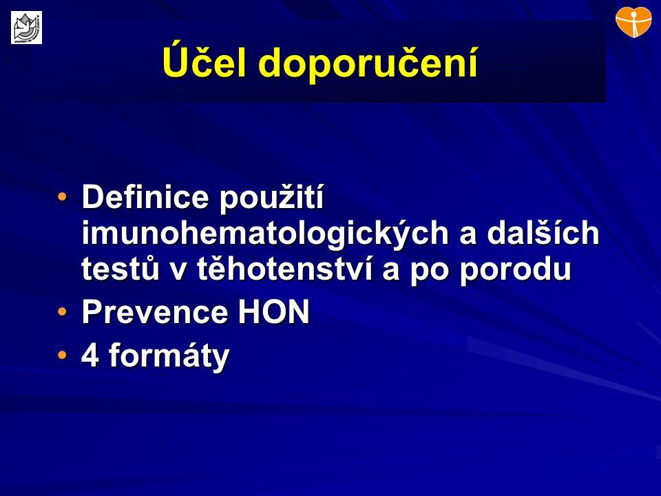 Účel doporučení Definice použití imunohematologických a dalších testů v těhotenství a po porodu. Prevence HON.