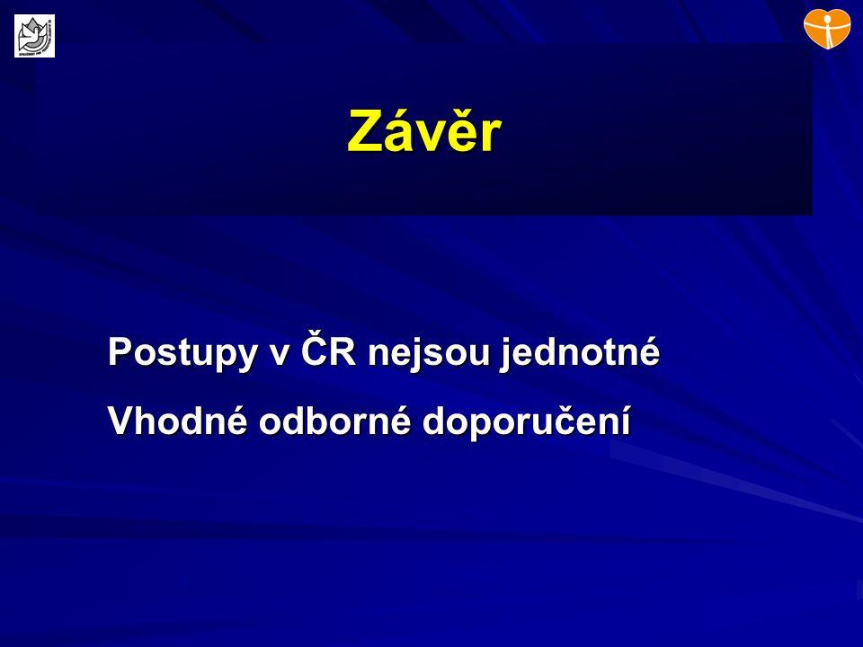 Závěr Postupy v ČR nejsou jednotné Vhodné odborné doporučení