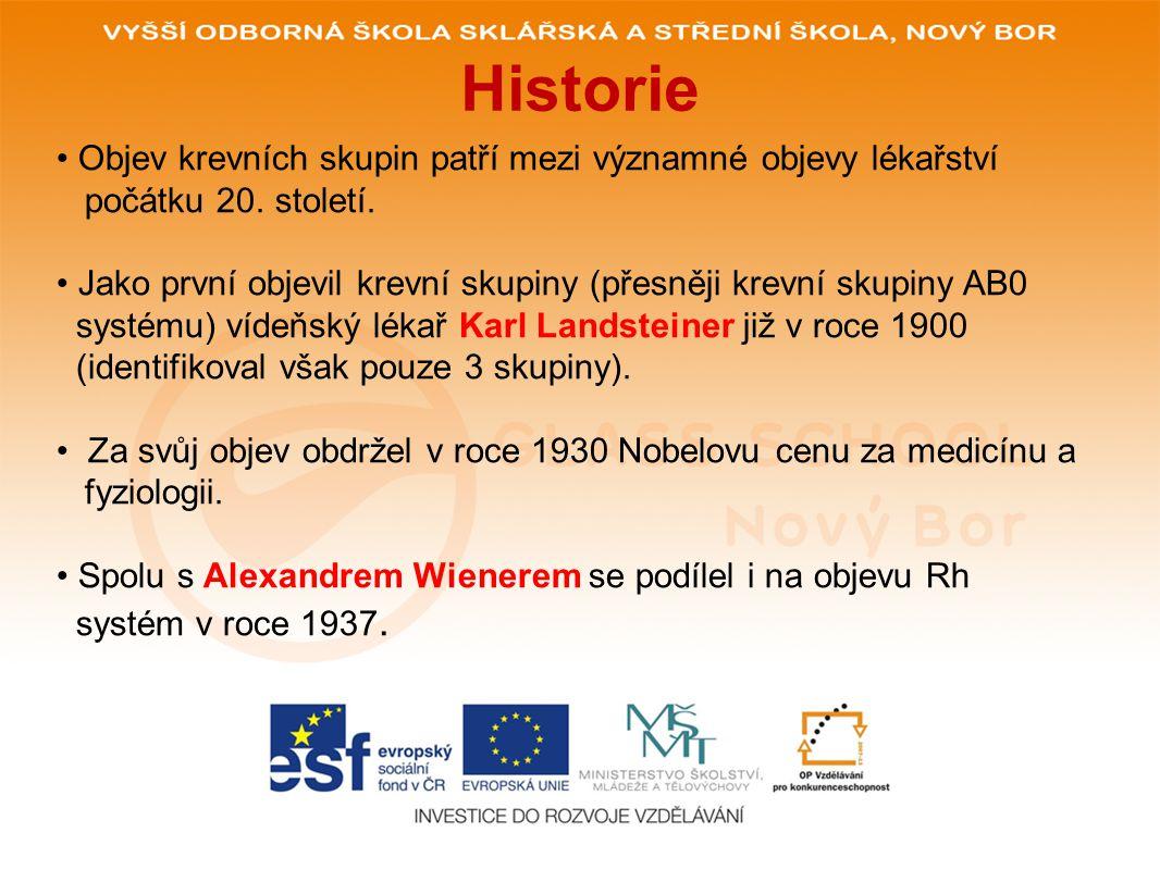 Historie Objev krevních skupin patří mezi významné objevy lékařství