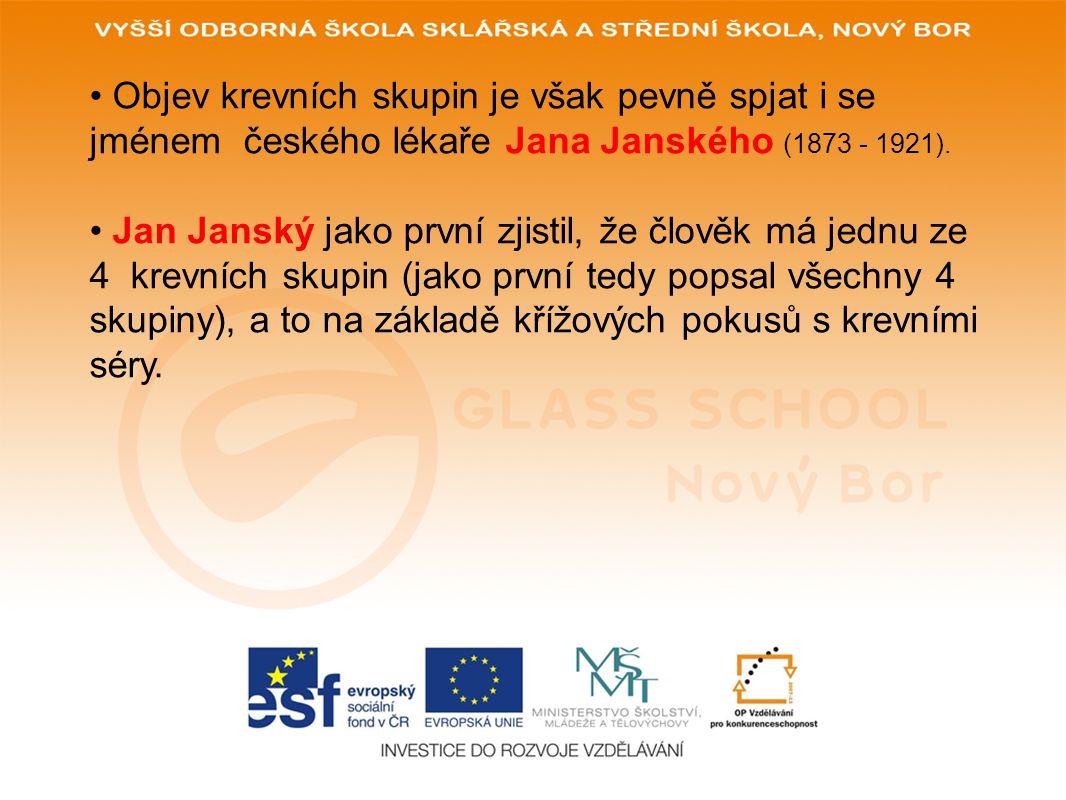Objev krevních skupin je však pevně spjat i se jménem českého lékaře Jana Janského (1873 - 1921).
