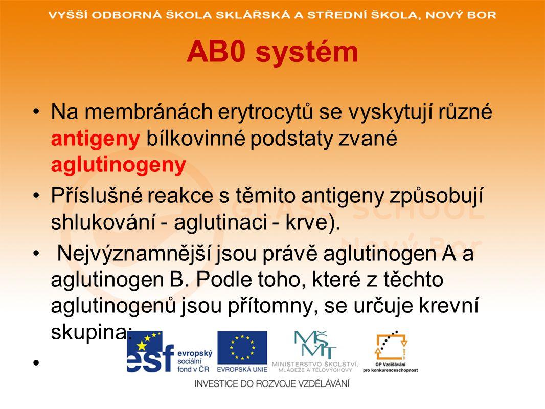AB0 systém Na membránách erytrocytů se vyskytují různé antigeny bílkovinné podstaty zvané aglutinogeny.