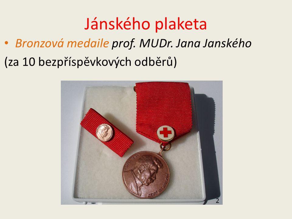 Jánského plaketa Bronzová medaile prof. MUDr. Jana Janského