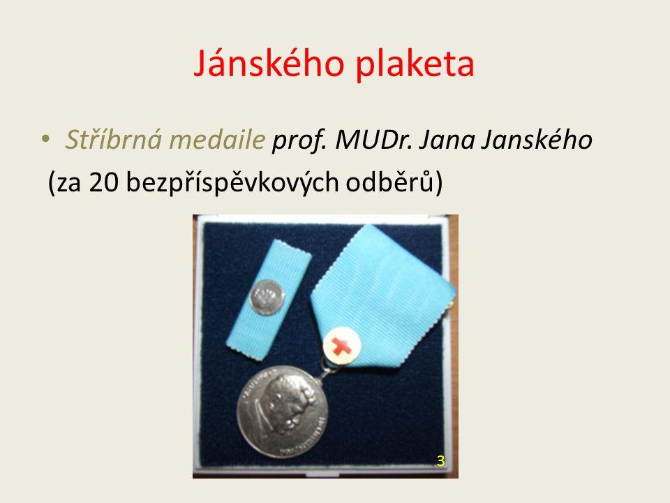 Jánského plaketa Stříbrná medaile prof. MUDr. Jana Janského