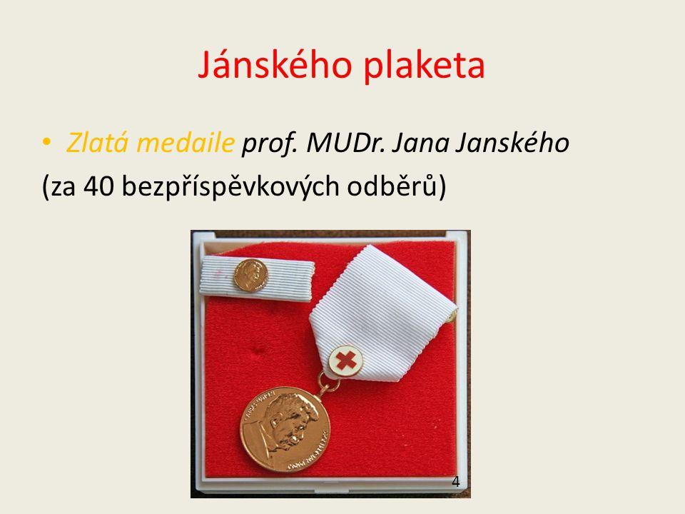 Jánského plaketa Zlatá medaile prof. MUDr. Jana Janského