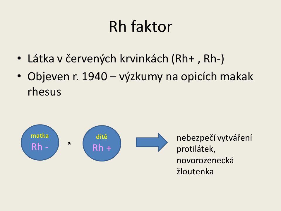 Rh faktor Látka v červených krvinkách (Rh+ , Rh-)
