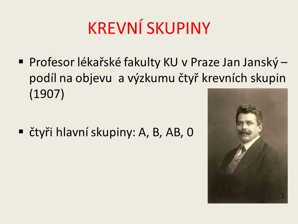 KREVNÍ SKUPINY Profesor lékařské fakulty KU v Praze Jan Janský – podíl na objevu a výzkumu čtyř krevních skupin (1907)