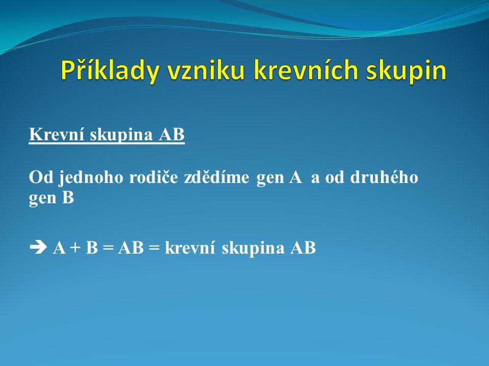 Příklady vzniku krevních skupin