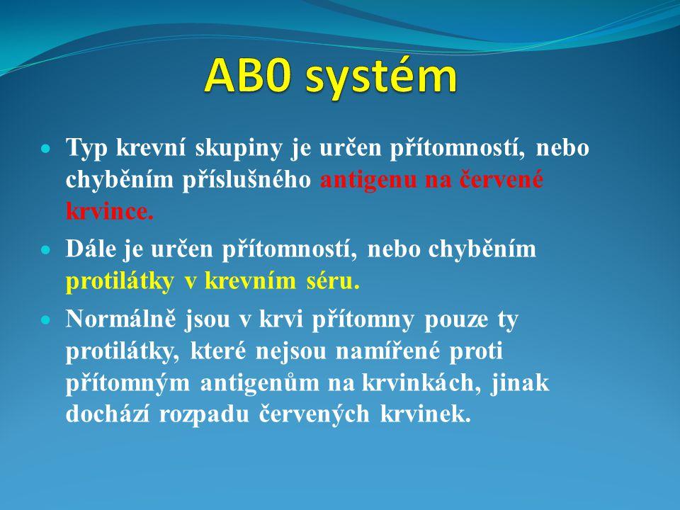AB0 systém Typ krevní skupiny je určen přítomností, nebo chyběním příslušného antigenu na červené krvince.