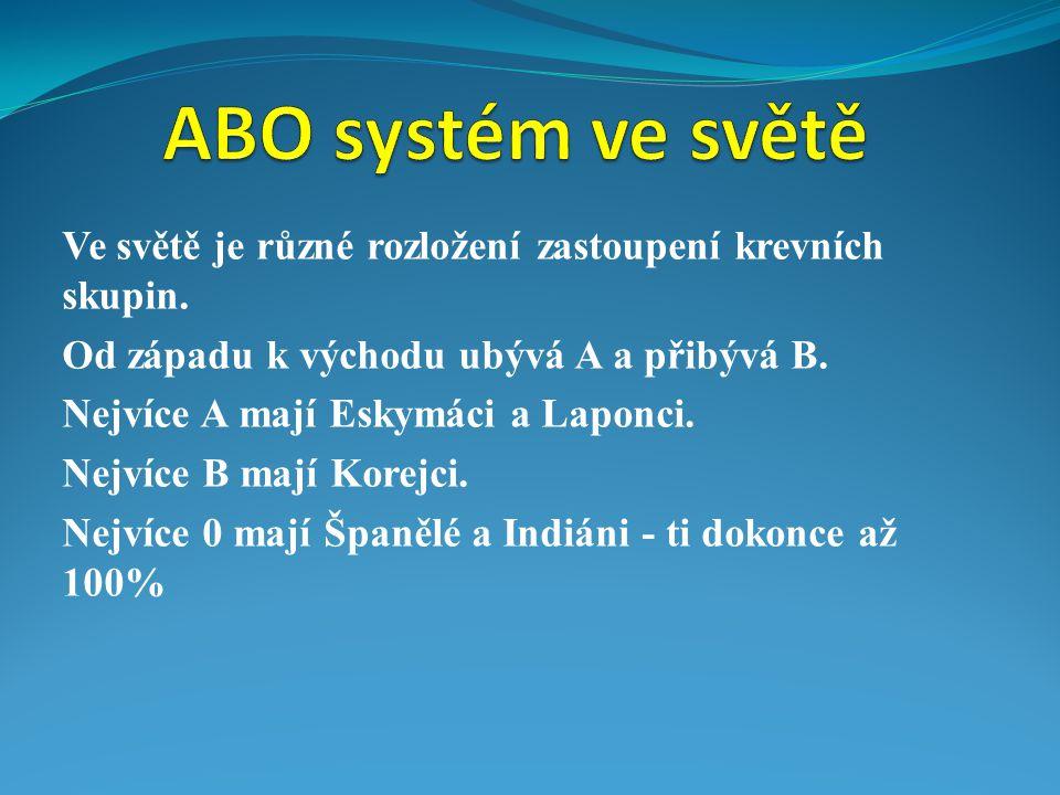 ABO systém ve světě Ve světě je různé rozložení zastoupení krevních skupin. Od západu k východu ubývá A a přibývá B.