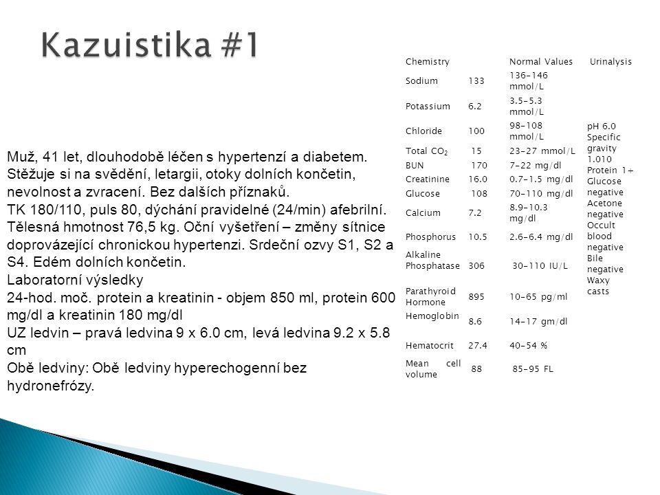 Kazuistika #1 Chemistry Normal Values. Urinalysis. Sodium 133 136-146 mmol/L