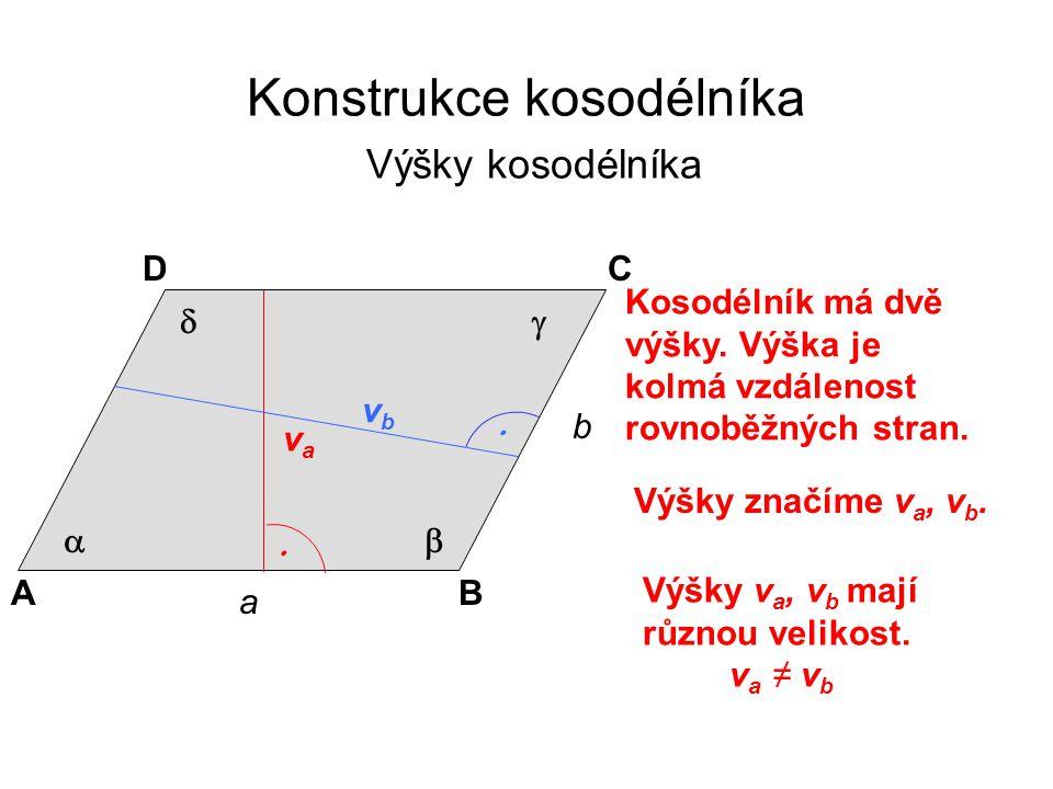 Konstrukce kosodélníka Výšky kosodélníka