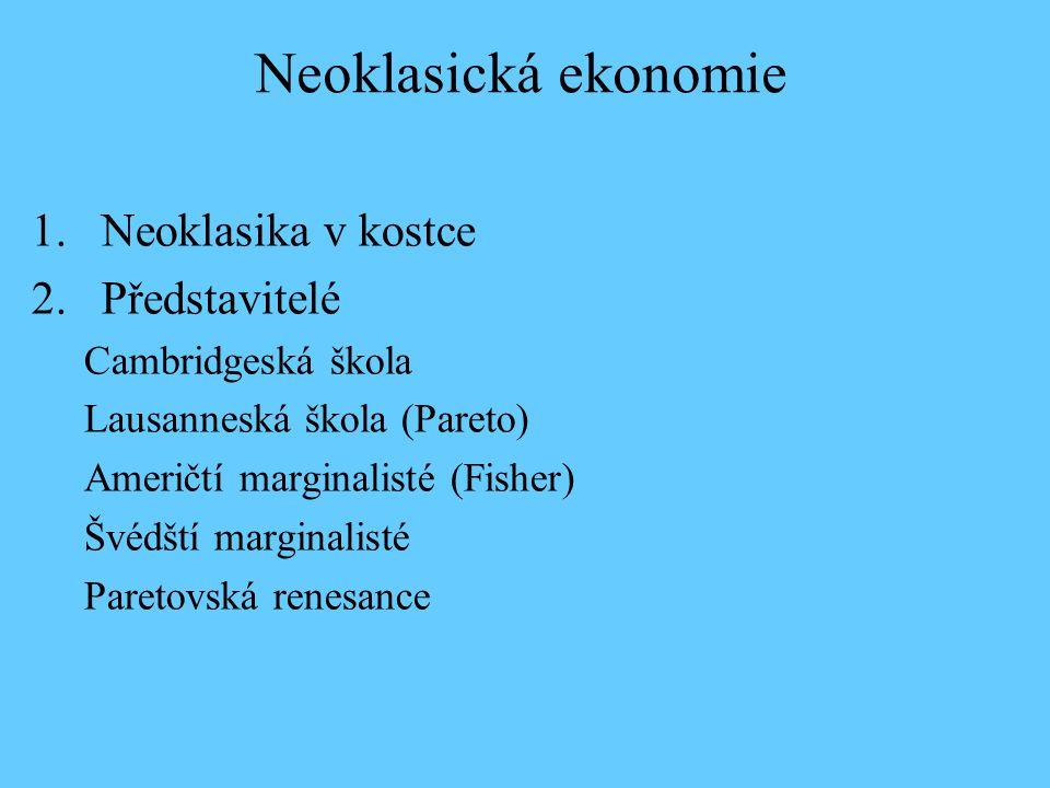 Neoklasická ekonomie Neoklasika v kostce Představitelé
