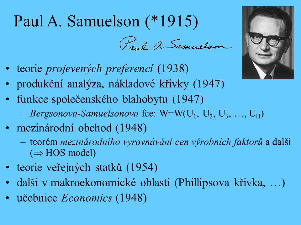 Paul A. Samuelson (*1915) teorie projevených preferencí (1938)