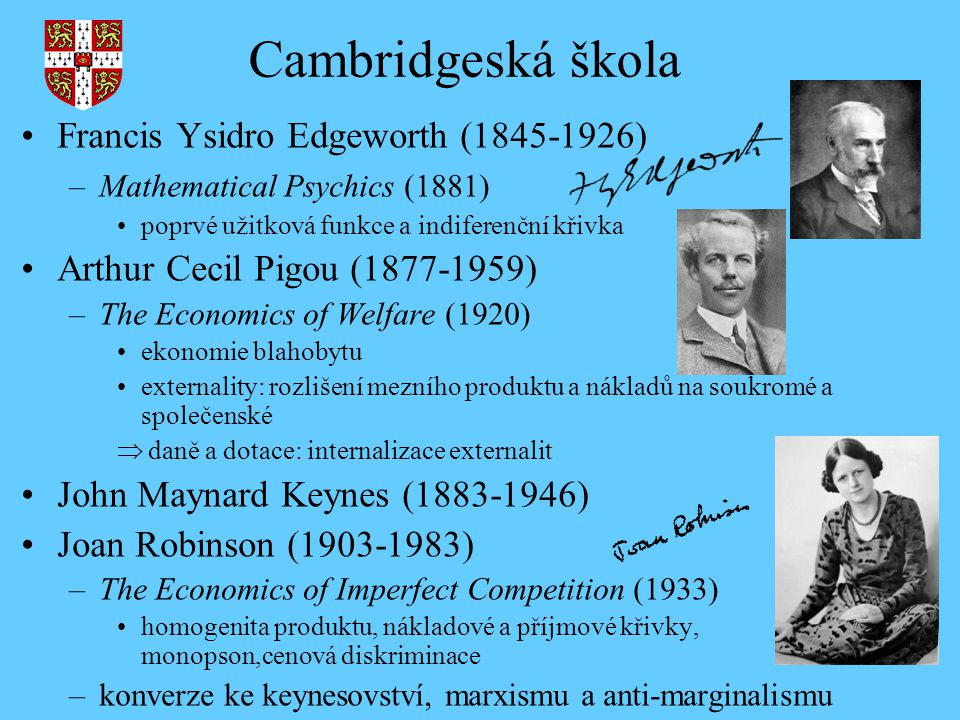 Cambridgeská škola Francis Ysidro Edgeworth ( )
