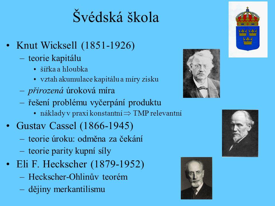 Švédská škola Knut Wicksell (1851-1926) Gustav Cassel (1866-1945)