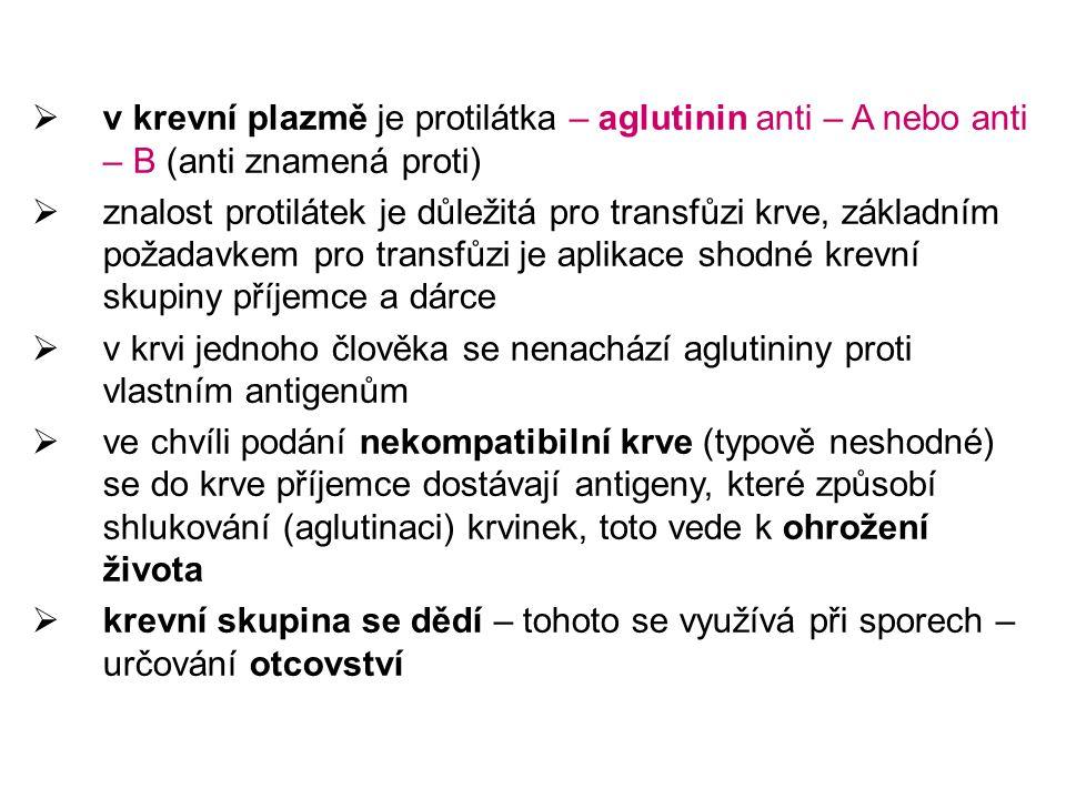 v krevní plazmě je protilátka – aglutinin anti – A nebo anti – B (anti znamená proti)