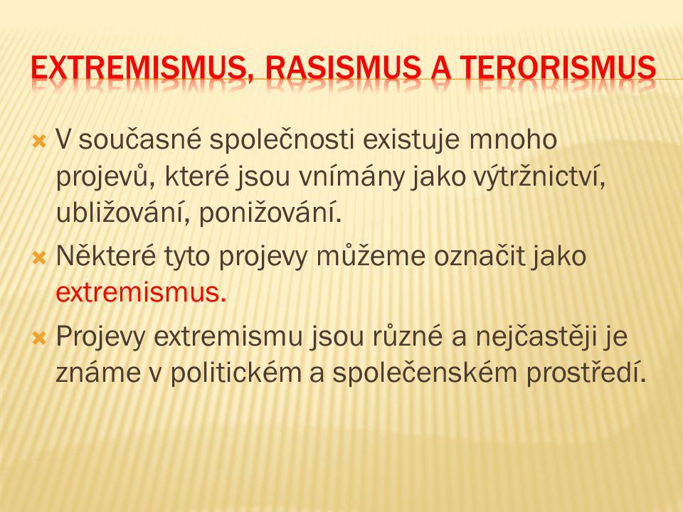 Extremismus, rasismus a terorismus
