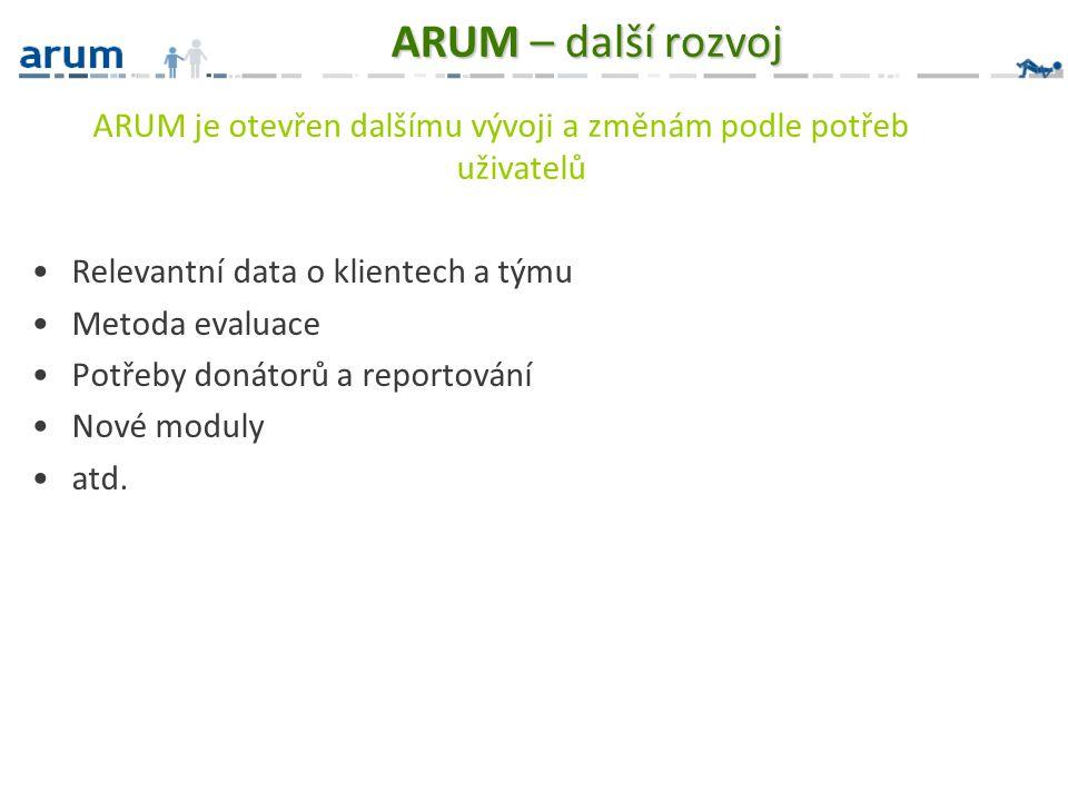 ARUM je otevřen dalšímu vývoji a změnám podle potřeb uživatelů