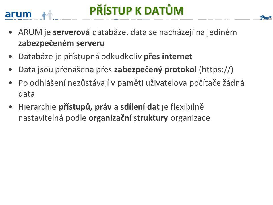 PŘÍSTUP K DATŮM ARUM je serverová databáze, data se nacházejí na jediném zabezpečeném serveru. Databáze je přístupná odkudkoliv přes internet.
