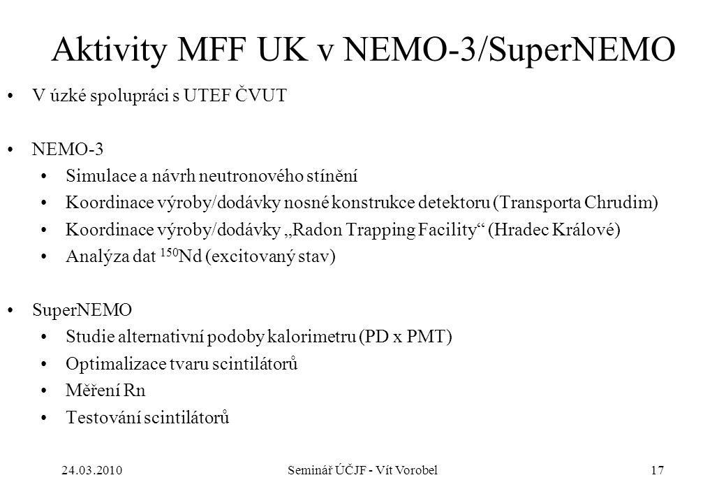 Aktivity MFF UK v NEMO-3/SuperNEMO