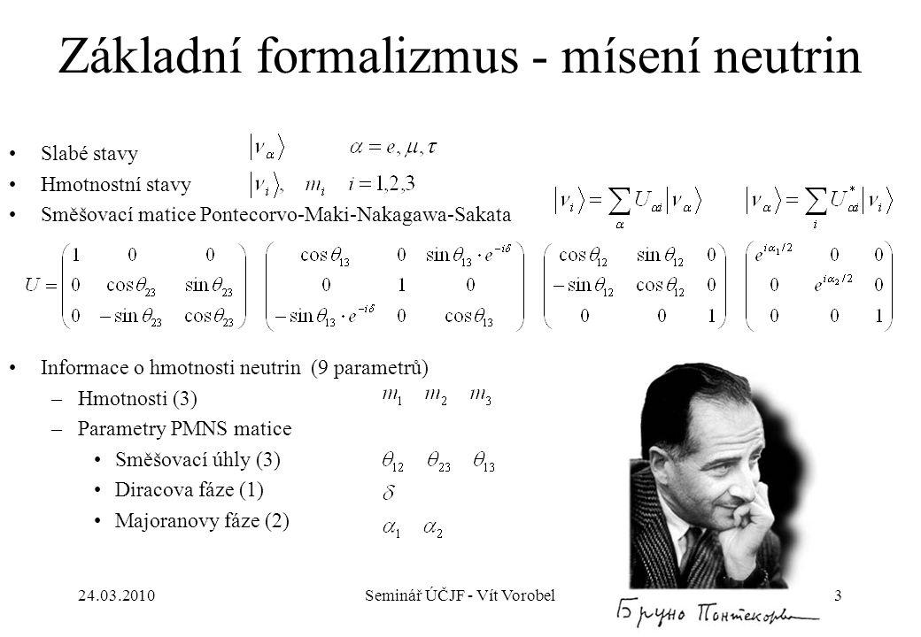 Základní formalizmus - mísení neutrin