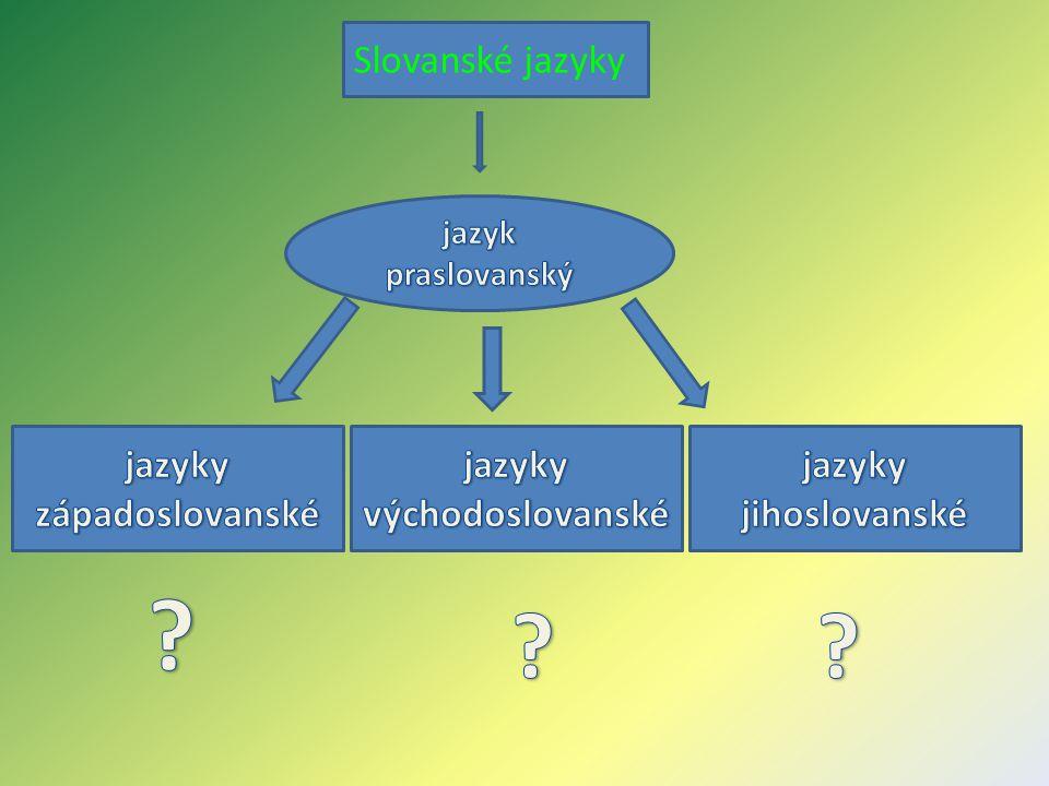 Slovanské jazyky jazyky západoslovanské jazyky východoslovanské