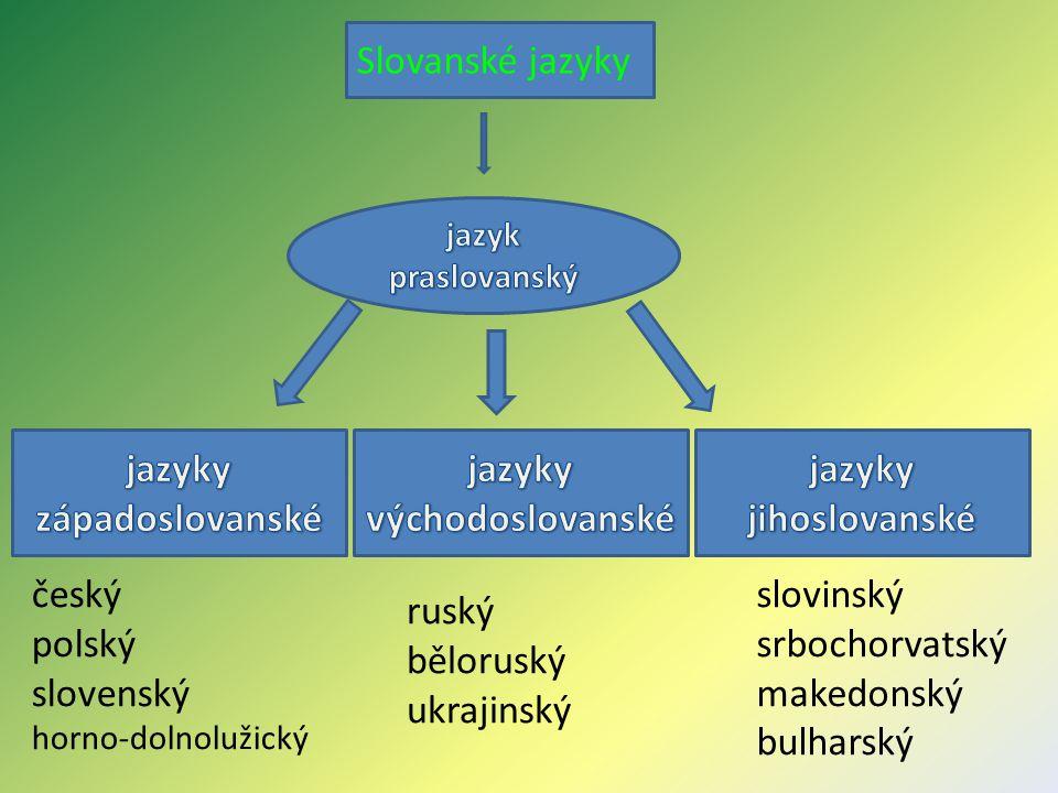 jazyky západoslovanské jazyky východoslovanské jazyky jihoslovanské
