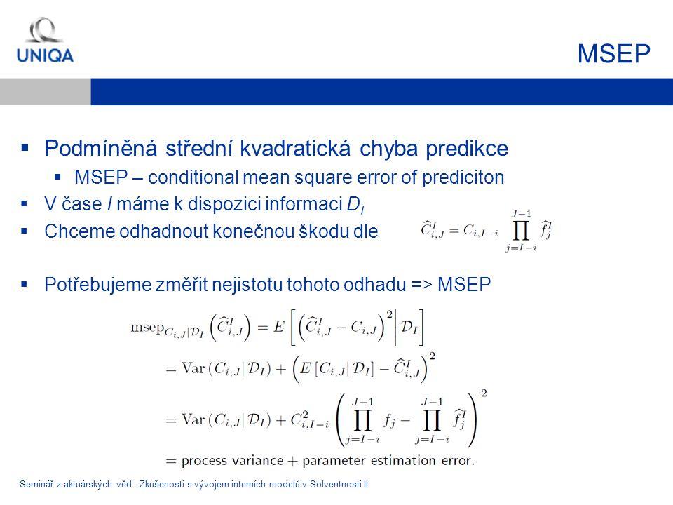 MSEP Podmíněná střední kvadratická chyba predikce