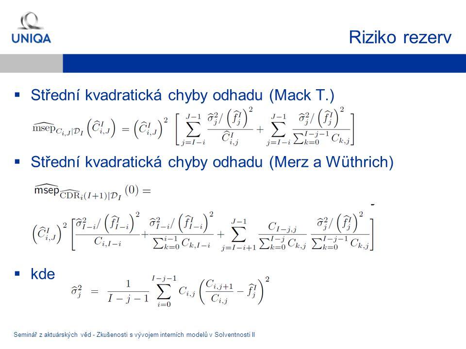 Riziko rezerv Střední kvadratická chyby odhadu (Mack T.)