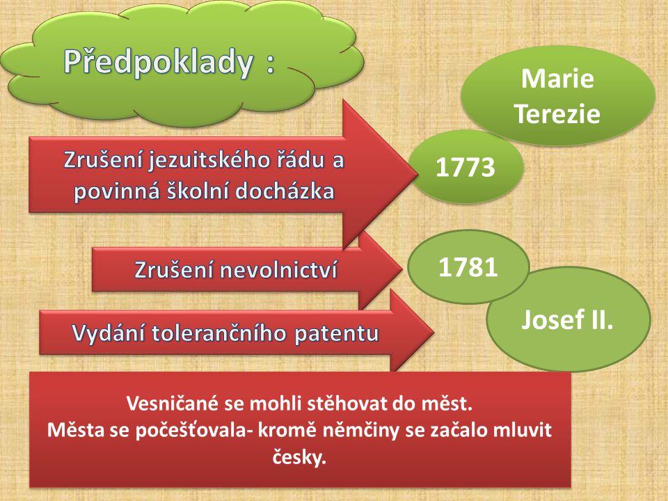 Předpoklady : Marie Terezie 1773 1781 Josef II.