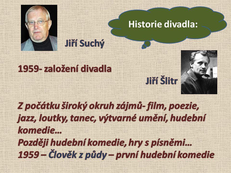 Historie divadla: Jiří Suchý. 1959- založení divadla. Jiří Šlitr.