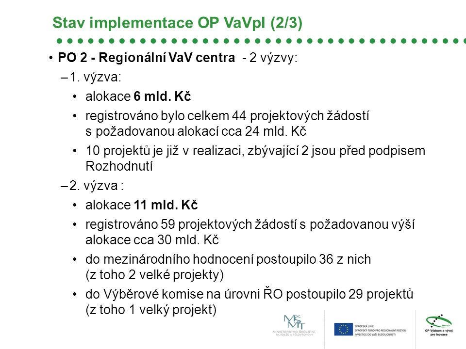 Stav implementace OP VaVpI (2/3)