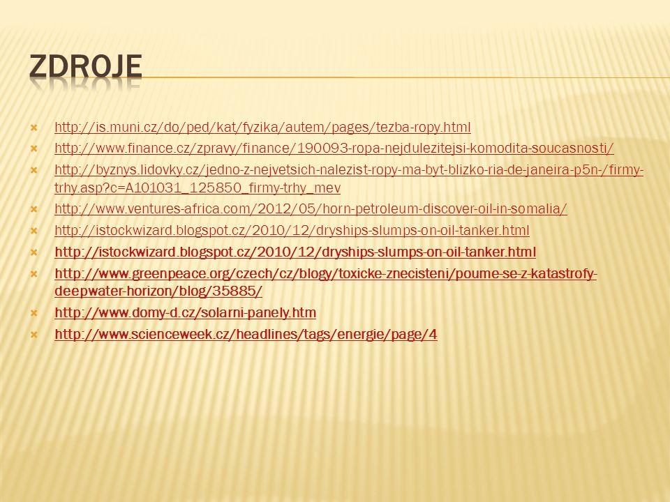 Zdroje http://is.muni.cz/do/ped/kat/fyzika/autem/pages/tezba-ropy.html