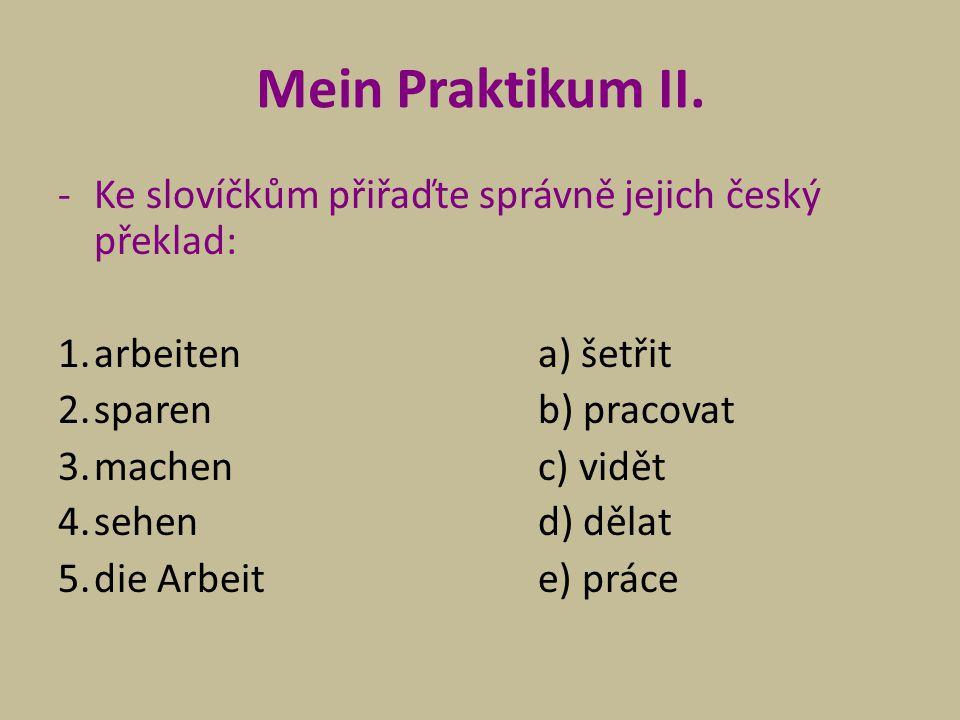 Mein Praktikum II. Ke slovíčkům přiřaďte správně jejich český překlad: