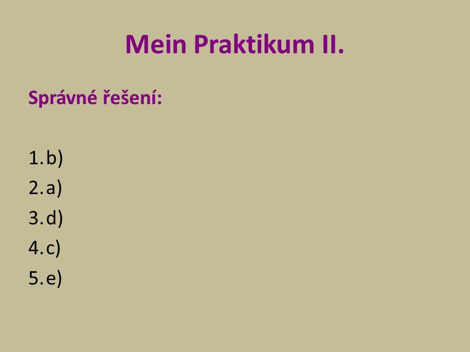 Mein Praktikum II. Správné řešení: b) a) d) c) e)