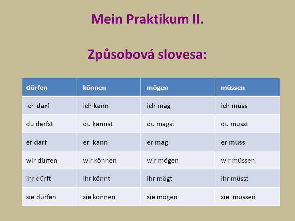 Mein Praktikum II. Způsobová slovesa: