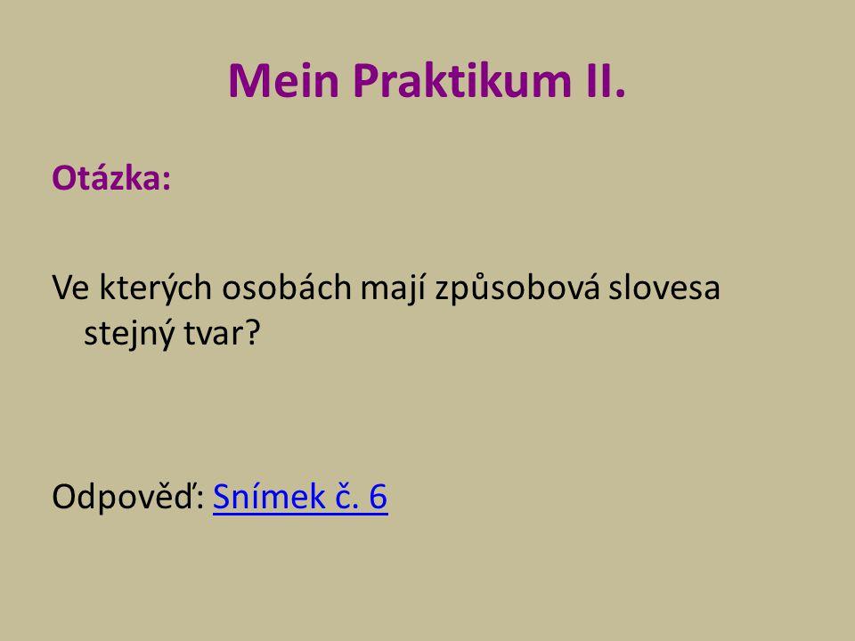 Mein Praktikum II. Otázka: Ve kterých osobách mají způsobová slovesa stejný tvar.