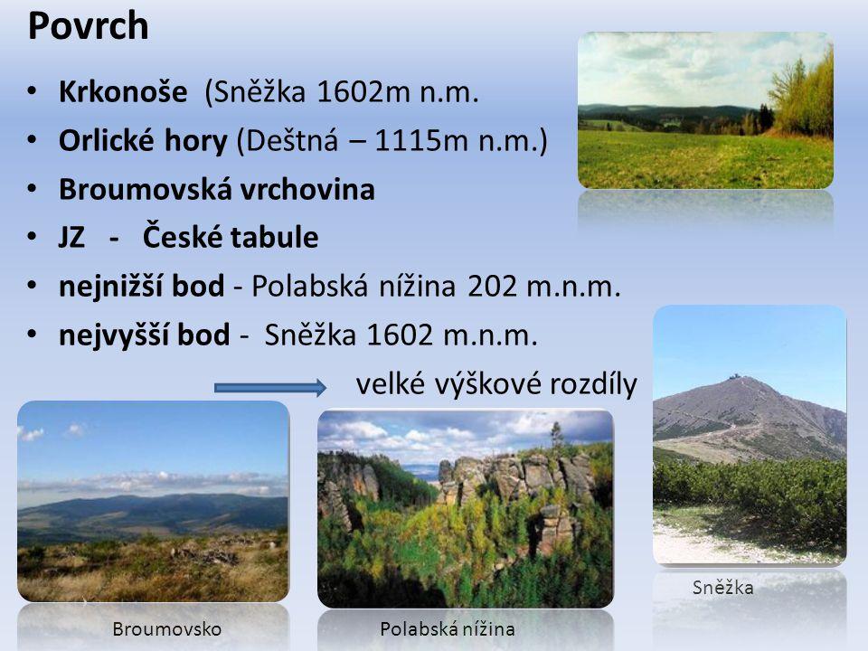 Povrch Krkonoše (Sněžka 1602m n.m. Orlické hory (Deštná – 1115m n.m.)