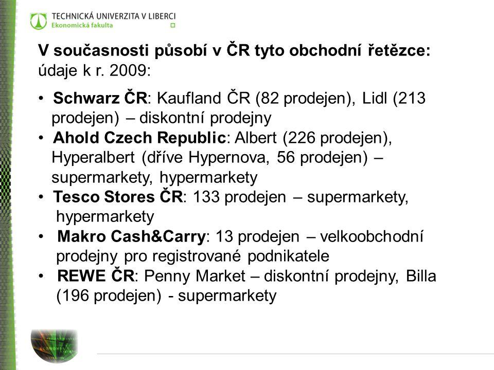 V současnosti působí v ČR tyto obchodní řetězce: